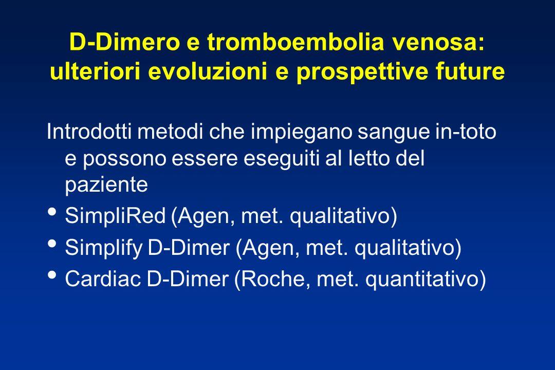 D-Dimero e tromboembolia venosa: ulteriori evoluzioni e prospettive future Introdotti metodi che impiegano sangue in-toto e possono essere eseguiti al
