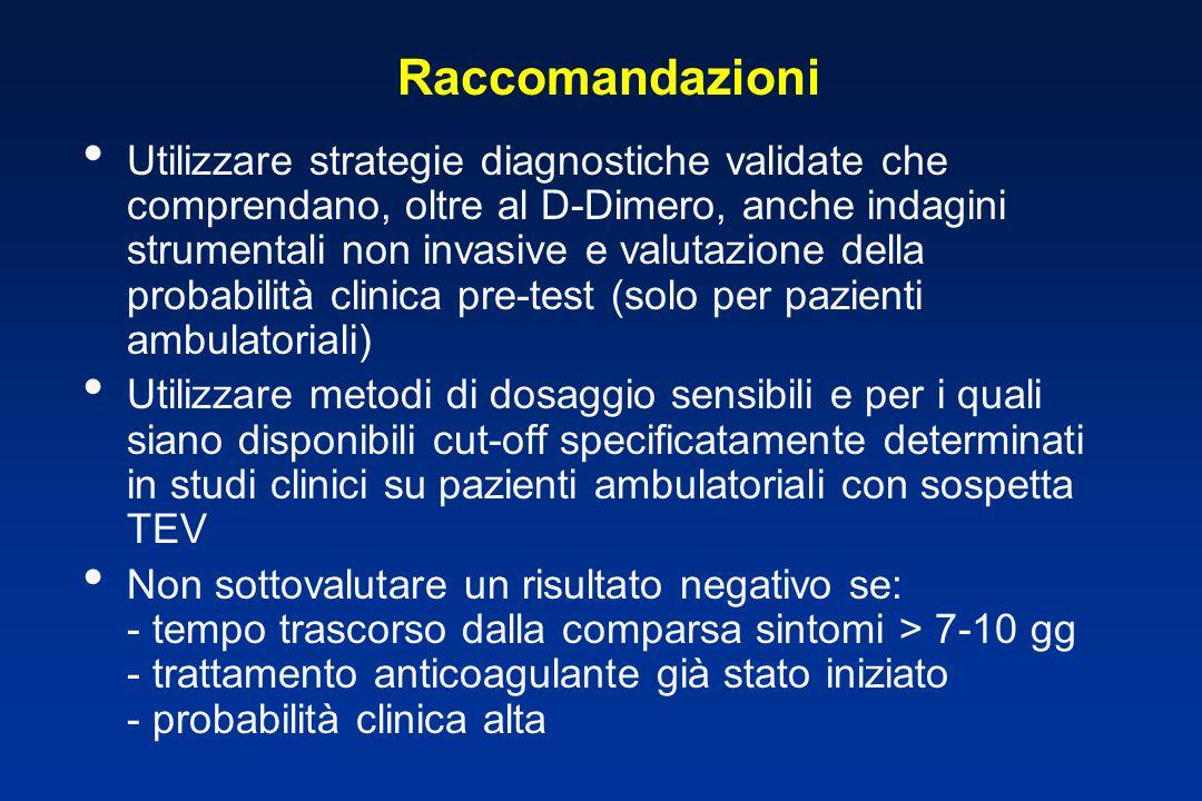Raccomandazioni Utilizzare strategie diagnostiche validate che comprendano, oltre al D-Dimero, anche indagini strumentali non invasive e valutazione d