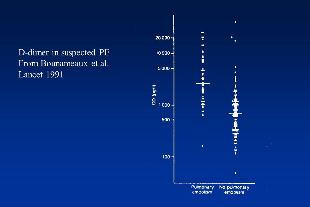 D-Dimero e tromboembolia venosa Data lelevata sensibilità e bassa specificità, il D-Dimero viene usato per il suo alto valore predittivo negativo E utile per escludere la presenza di trombosi quando il livello è al di sotto di un cut-off determinato specificatamente Valori fortemente elevati non consentono di ritenere probabile la presenza di trombosi; semplicemente non consentono di escluderla e indicano di proseguire gli accertamenti