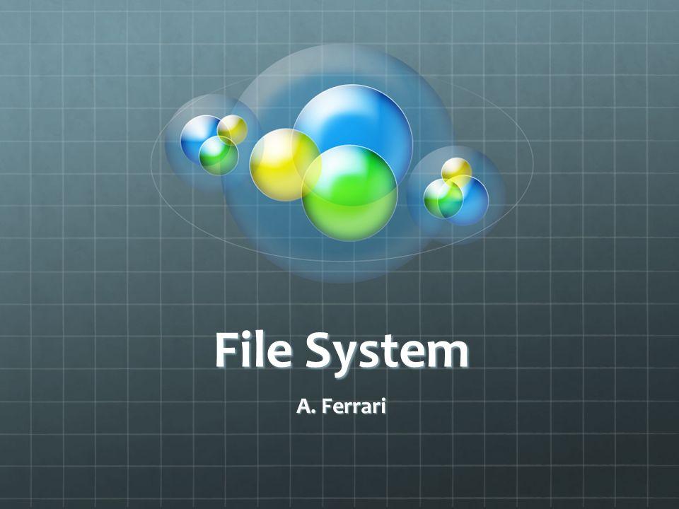 File System Il file system è la parte del Sistema Operativo che permette la gestione delle informazioni memorizzate in modo permanente (i file sui vari sistemi di memorizzazione di massa).