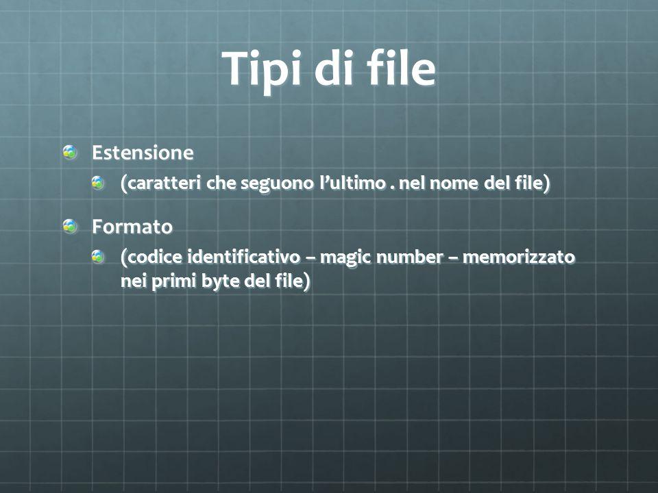 Tipi di file Estensione (caratteri che seguono lultimo. nel nome del file) Formato (codice identificativo – magic number – memorizzato nei primi byte