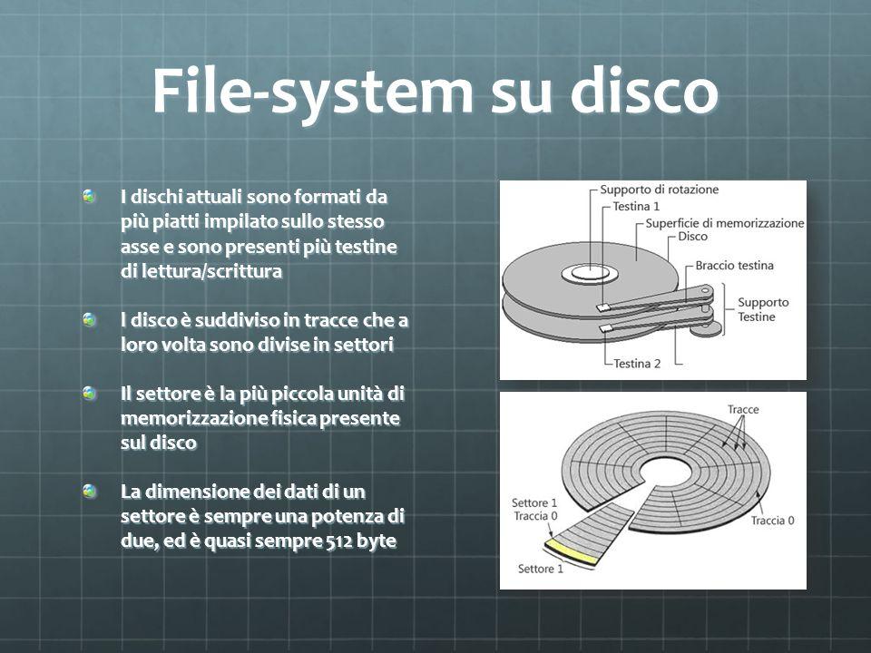 File-system su disco I dischi attuali sono formati da più piatti impilato sullo stesso asse e sono presenti più testine di lettura/scrittura l disco è