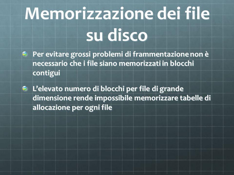 Memorizzazione dei file su disco Per evitare grossi problemi di frammentazione non è necessario che i file siano memorizzati in blocchi contigui Lelev