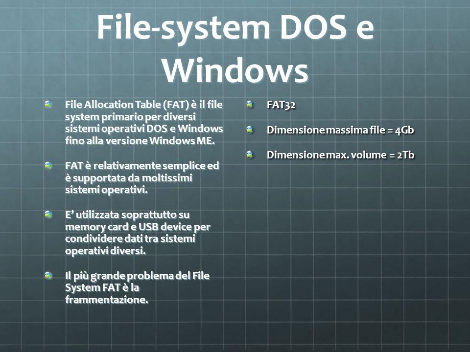 File-system DOS e Windows File Allocation Table (FAT) è il file system primario per diversi sistemi operativi DOS e Windows fino alla versione Windows