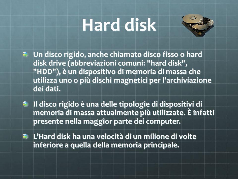 Disco a stato solido Un unità a stato solido o drive a stato solido, in sigla SSD (Solid-State Drive), talvolta impropriamente chiamata disco a stato solido, è una tipologia di dispositivo di memoria di massa che utilizza memoria a stato solido (in particolare memoria flash) per l archiviazione dei dati.