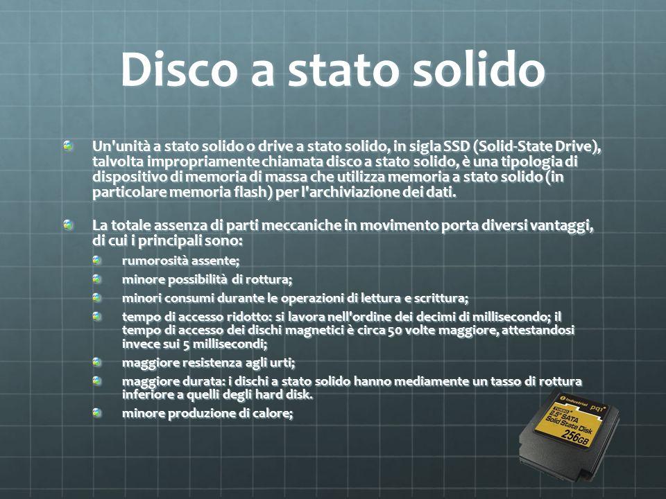 Disco a stato solido Un'unità a stato solido o drive a stato solido, in sigla SSD (Solid-State Drive), talvolta impropriamente chiamata disco a stato