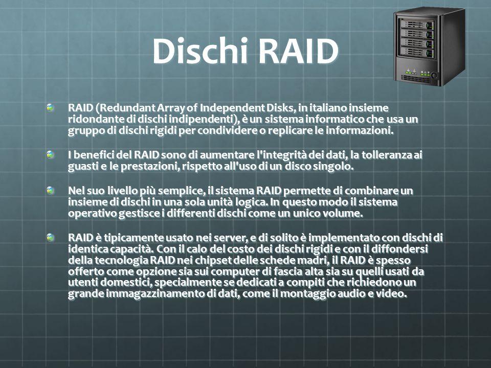 Dischi RAID RAID (Redundant Array of Independent Disks, in italiano insieme ridondante di dischi indipendenti), è un sistema informatico che usa un gr