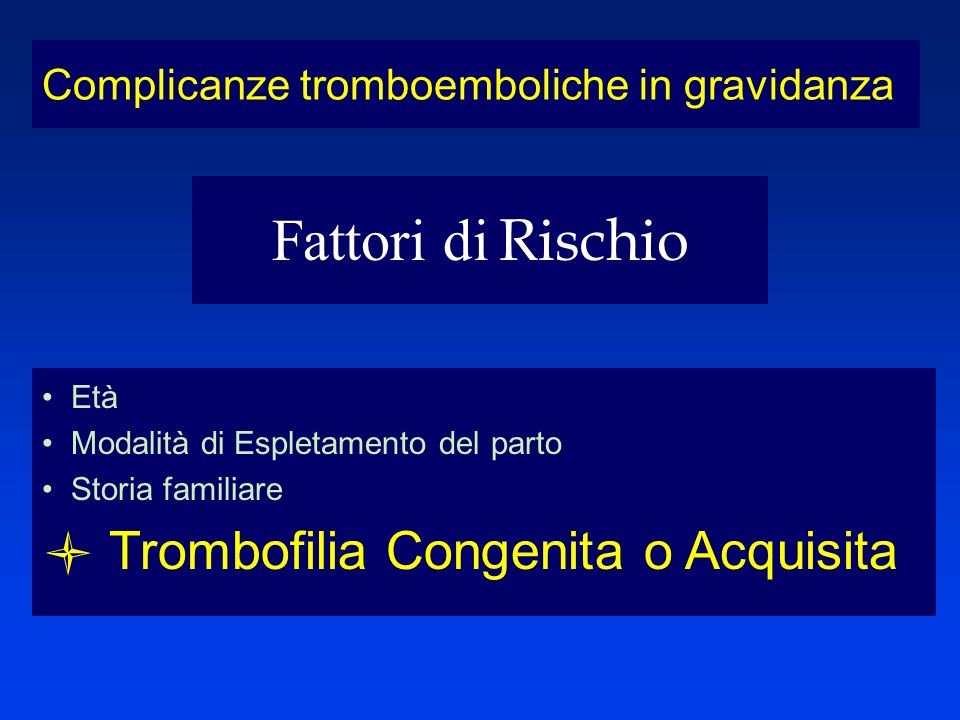 Età Modalità di Espletamento del parto Storia familiare Trombofilia Congenita o Acquisita Complicanze tromboemboliche in gravidanza Fattori di Rischio