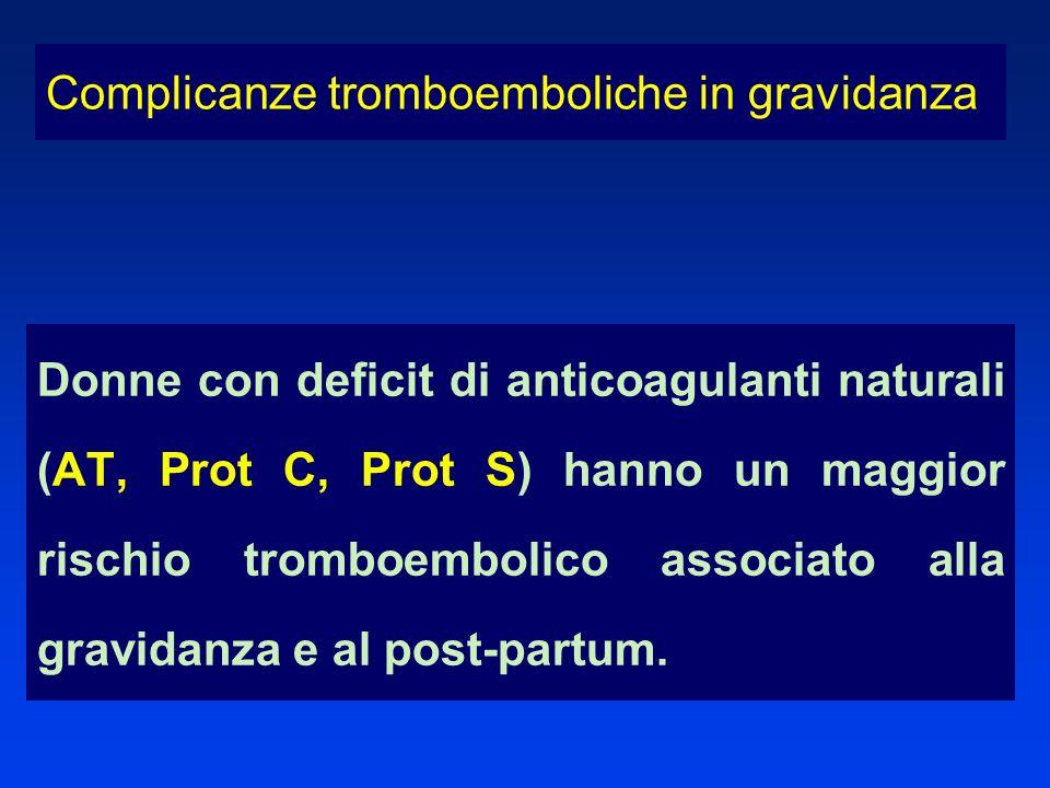 Donne con deficit di anticoagulanti naturali (AT, Prot C, Prot S) hanno un maggior rischio tromboembolico associato alla gravidanza e al post-partum.