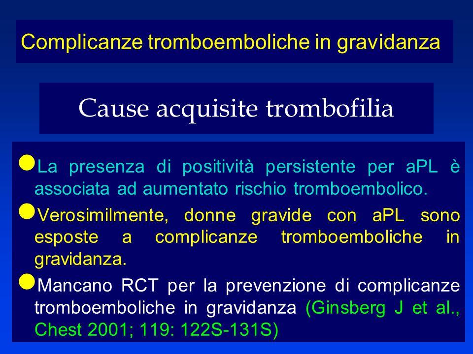 Cause acquisite trombofilia La presenza di positività persistente per aPL è associata ad aumentato rischio tromboembolico. Verosimilmente, donne gravi