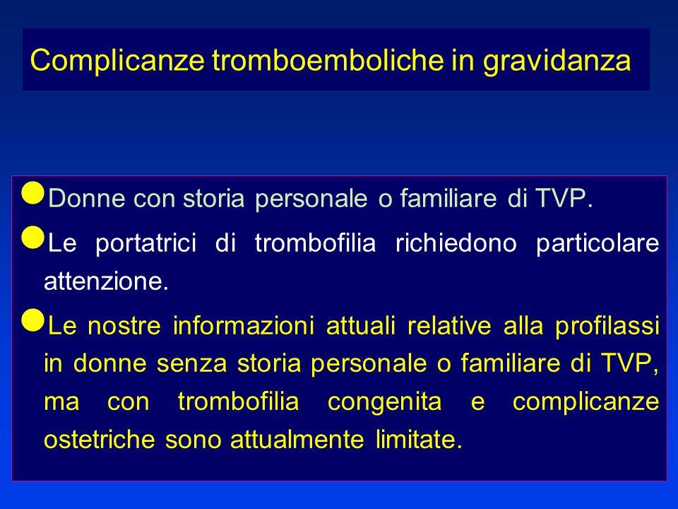 Donne con storia personale o familiare di TVP. Le portatrici di trombofilia richiedono particolare attenzione. Le nostre informazioni attuali relative