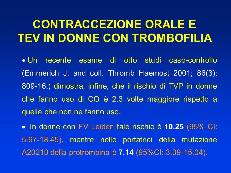 CONTRACCEZIONE ORALE E TEV IN DONNE CON TROMBOFILIA Un recente esame di otto studi caso-controllo (Emmerich J, and coll. Thromb Haemost 2001; 86(3): 8