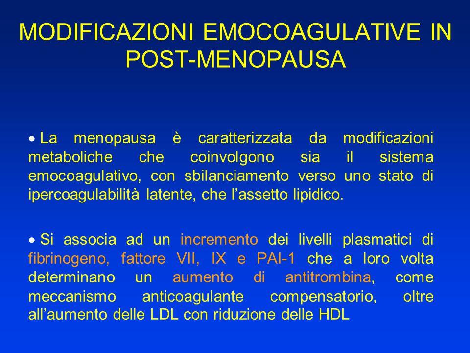 MODIFICAZIONI EMOCOAGULATIVE IN POST-MENOPAUSA La menopausa è caratterizzata da modificazioni metaboliche che coinvolgono sia il sistema emocoagulativ