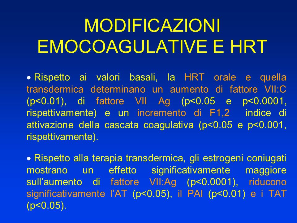 MODIFICAZIONI EMOCOAGULATIVE E HRT Rispetto ai valori basali, la HRT orale e quella transdermica determinano un aumento di fattore VII:C (p<0.01), di
