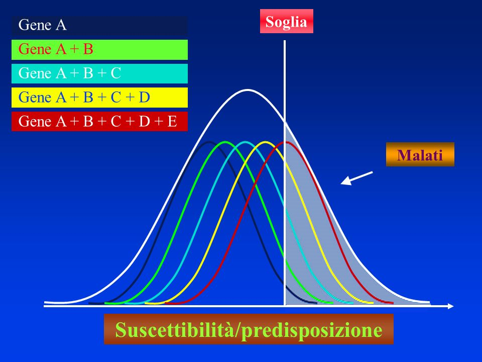 Malati Gene A Gene A + B Gene A + B + C Gene A + B + C + D Gene A + B + C + D + E Soglia Suscettibilità/predisposizione
