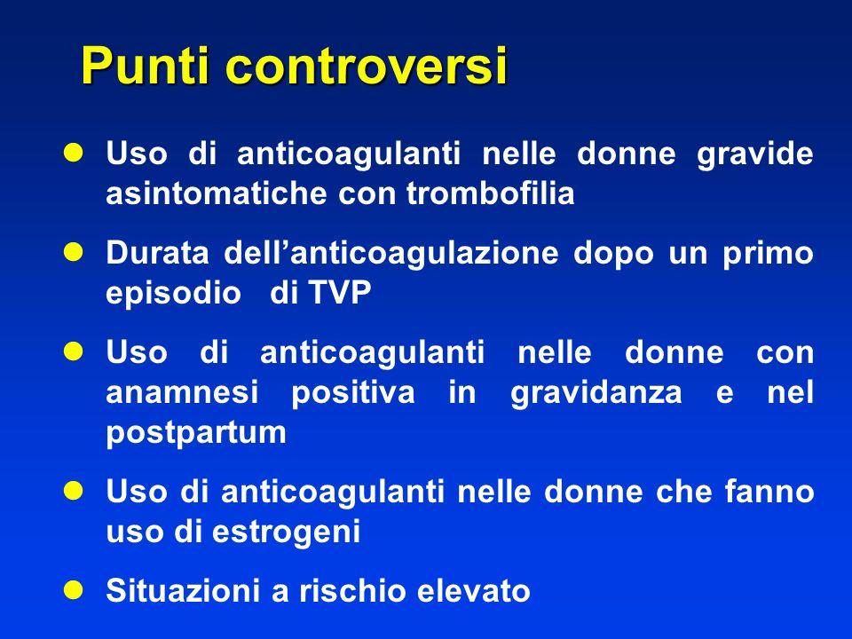 l lUso di anticoagulanti nelle donne gravide asintomatiche con trombofilia l lDurata dellanticoagulazione dopo un primo episodio di TVP l lUso di anti