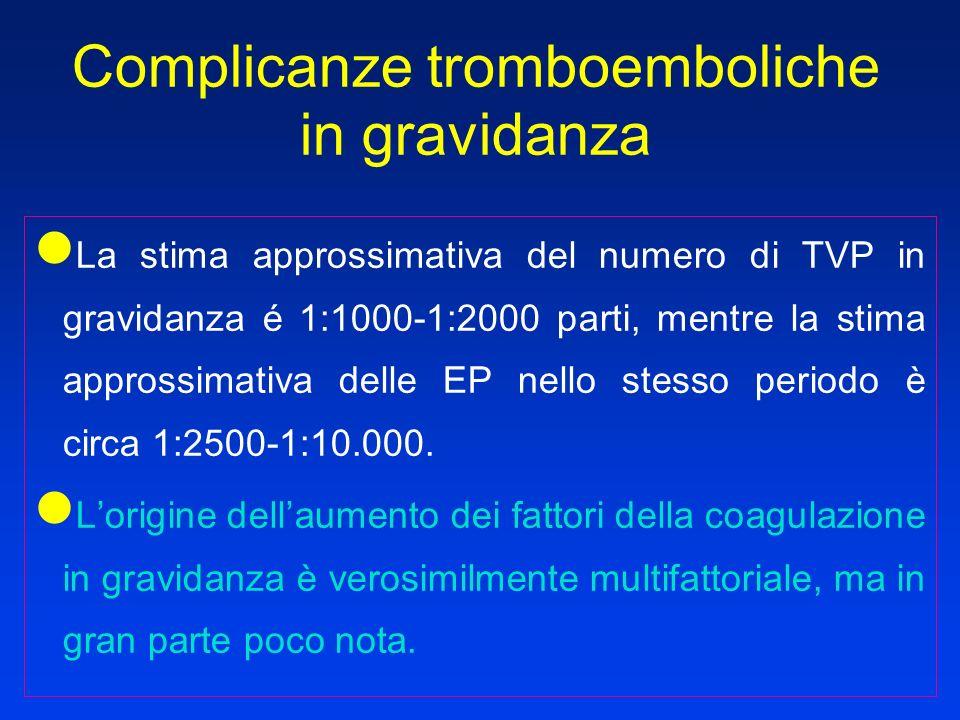 La stima approssimativa del numero di TVP in gravidanza é 1:1000-1:2000 parti, mentre la stima approssimativa delle EP nello stesso periodo è circa 1: