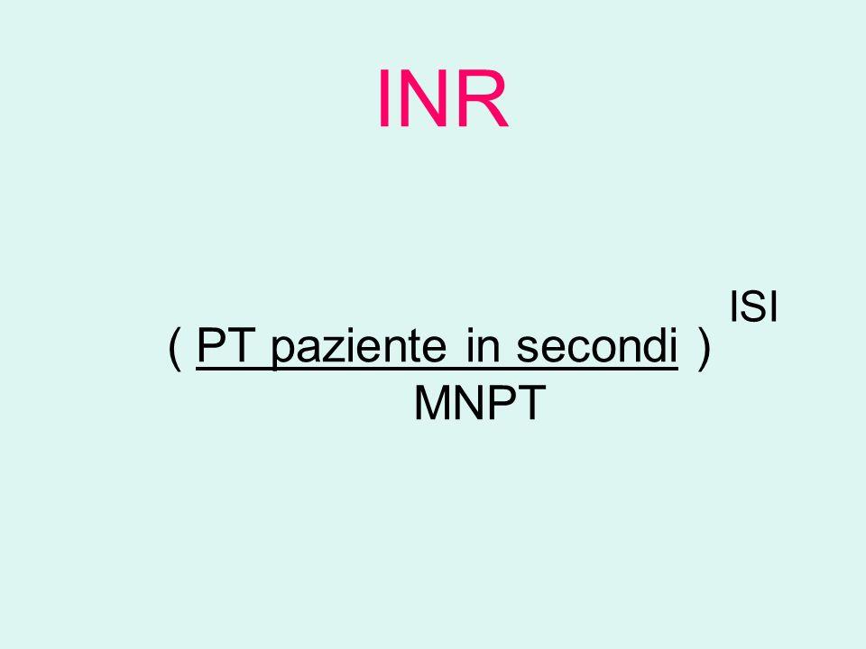 ( PT paziente in secondi ) MNPT INR ISI