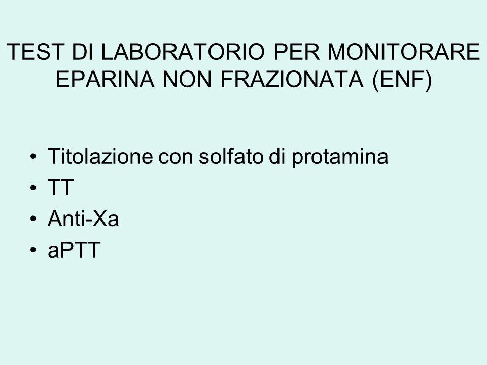 TEST DI LABORATORIO PER MONITORARE EPARINA NON FRAZIONATA (ENF) Titolazione con solfato di protamina TT Anti-Xa aPTT