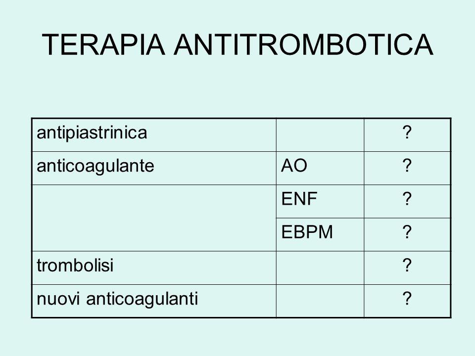 TERAPIA ANTITROMBOTICA antipiastrinica. anticoagulanteAO.