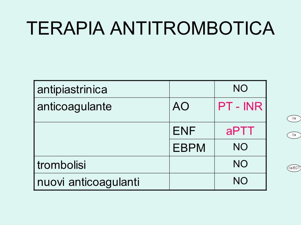 TERAPIA ANTITROMBOTICA antipiastrinica NO anticoagulanteAOPT - INR ENFaPTT EBPM NO trombolisi NO nuovi anticoagulanti NO Xa Xa/ECT