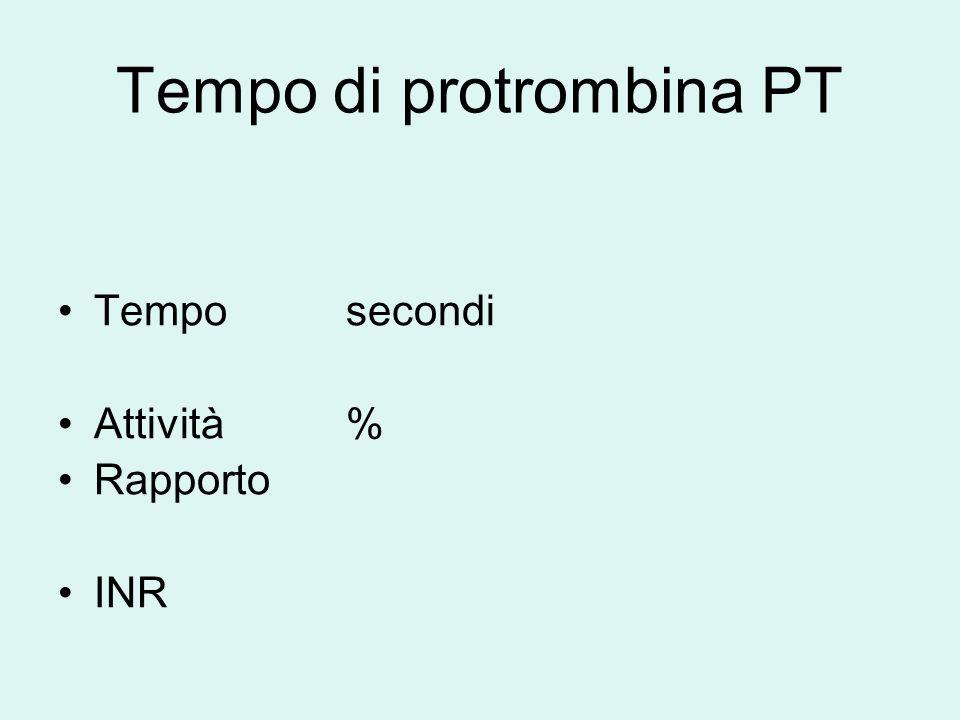 Test di Laboratorio per il monitoraggio TAO INR = ( PT paziente ) ISI MNPT INR = International Normalized Ratio ISI = International sensitivity index MNPT = Mean Normal Plasma Time