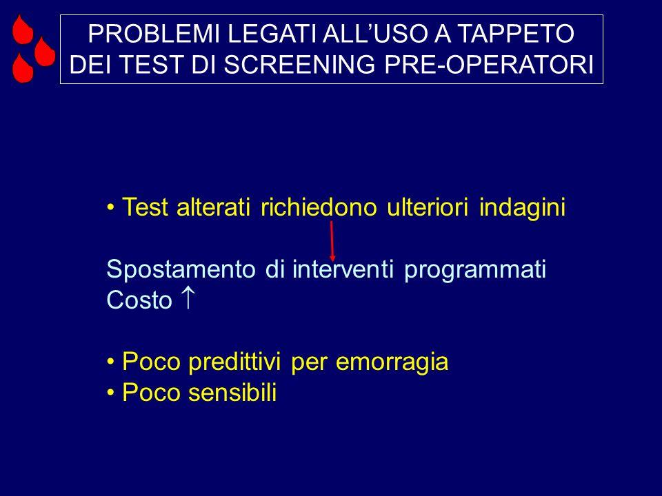 PROBLEMI LEGATI ALLUSO A TAPPETO DEI TEST DI SCREENING PRE-OPERATORI Test alterati richiedono ulteriori indagini Spostamento di interventi programmati