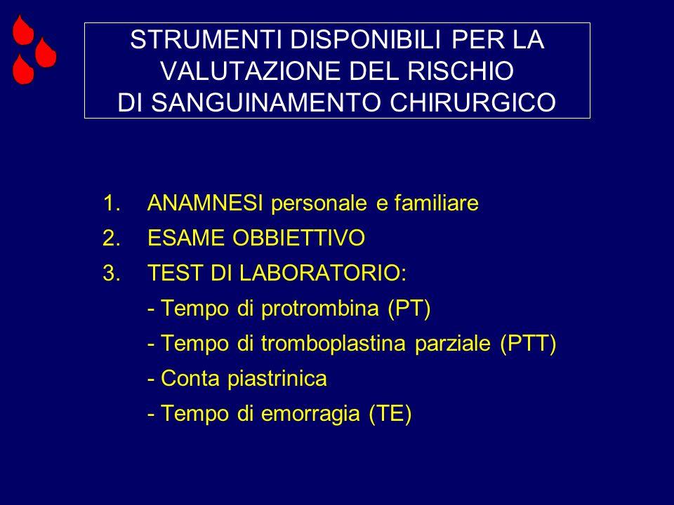 STRUMENTI DISPONIBILI PER LA VALUTAZIONE DEL RISCHIO DI SANGUINAMENTO CHIRURGICO 1.ANAMNESI personale e familiare 2.ESAME OBBIETTIVO 3.TEST DI LABORAT