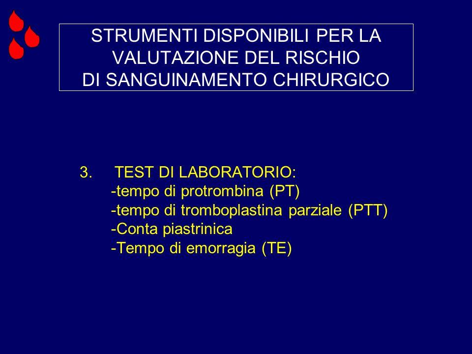 STRUMENTI DISPONIBILI PER LA VALUTAZIONE DEL RISCHIO DI SANGUINAMENTO CHIRURGICO 3. TEST DI LABORATORIO: -tempo di protrombina (PT) -tempo di trombopl