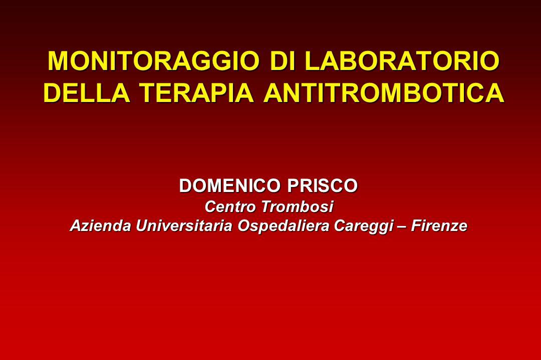 Limitations of ACT in heparin monitoring -60-300306090120150 0 1 2 3 4 5 6 7 Cardiopulmonary Bypass Time (min) Despotis,1997 Hep Start CBP HypothRewarming Stop CPB N=32 Temp (°C/10) Hct (%/10) HC ACT (sec/100) HT ACT (sec/100) Anti-Xa (IU/ml) WB Hep (IU/ml) Centro Trombosi Firenze