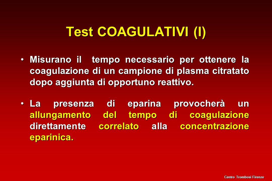 Test COAGULATIVI (I) Misurano il tempo necessario per ottenere la coagulazione di un campione di plasma citratato dopo aggiunta di opportuno reattivo.