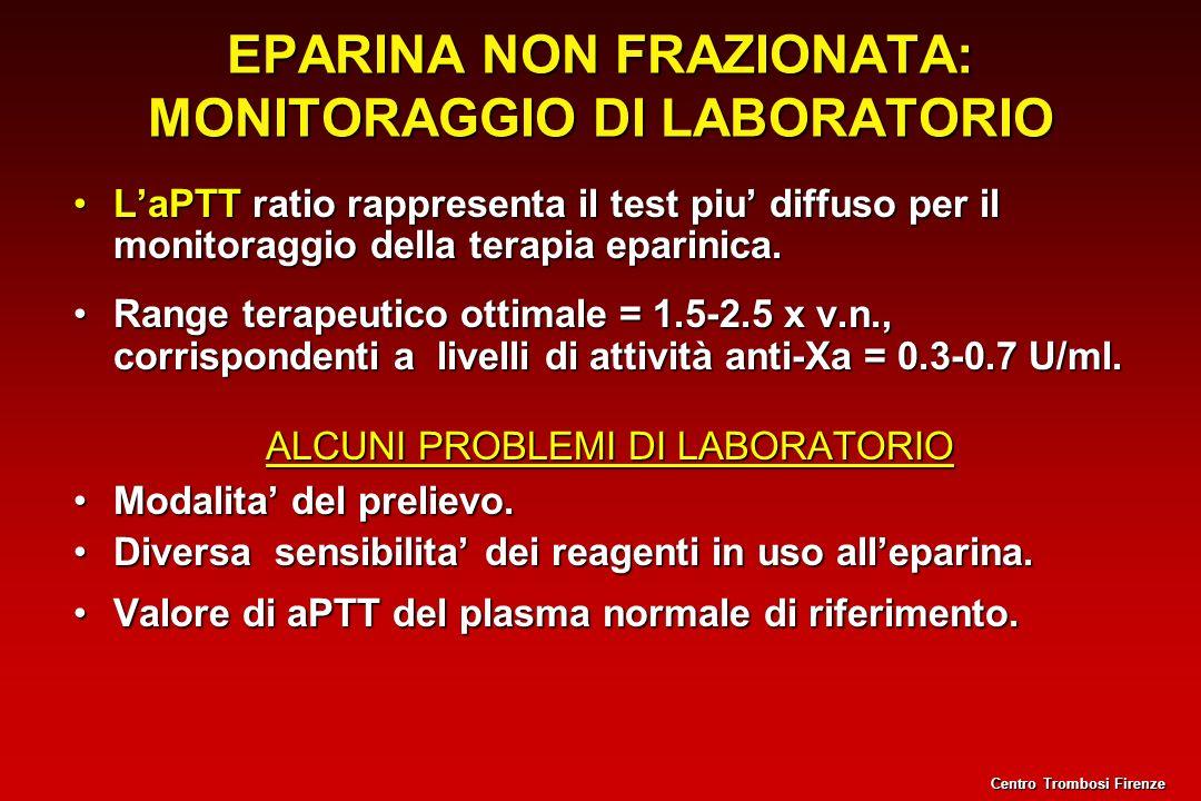 EPARINA NON FRAZIONATA: MONITORAGGIO DI LABORATORIO LaPTT ratio rappresenta il test piu diffuso per il monitoraggio della terapia eparinica.LaPTT rati