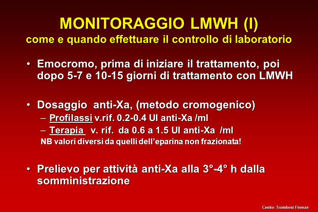 MONITORAGGIO LMWH (I) come e quando effettuare il controllo di laboratorio Emocromo, prima di iniziare il trattamento, poi dopo 5-7 e 10-15 giorni di