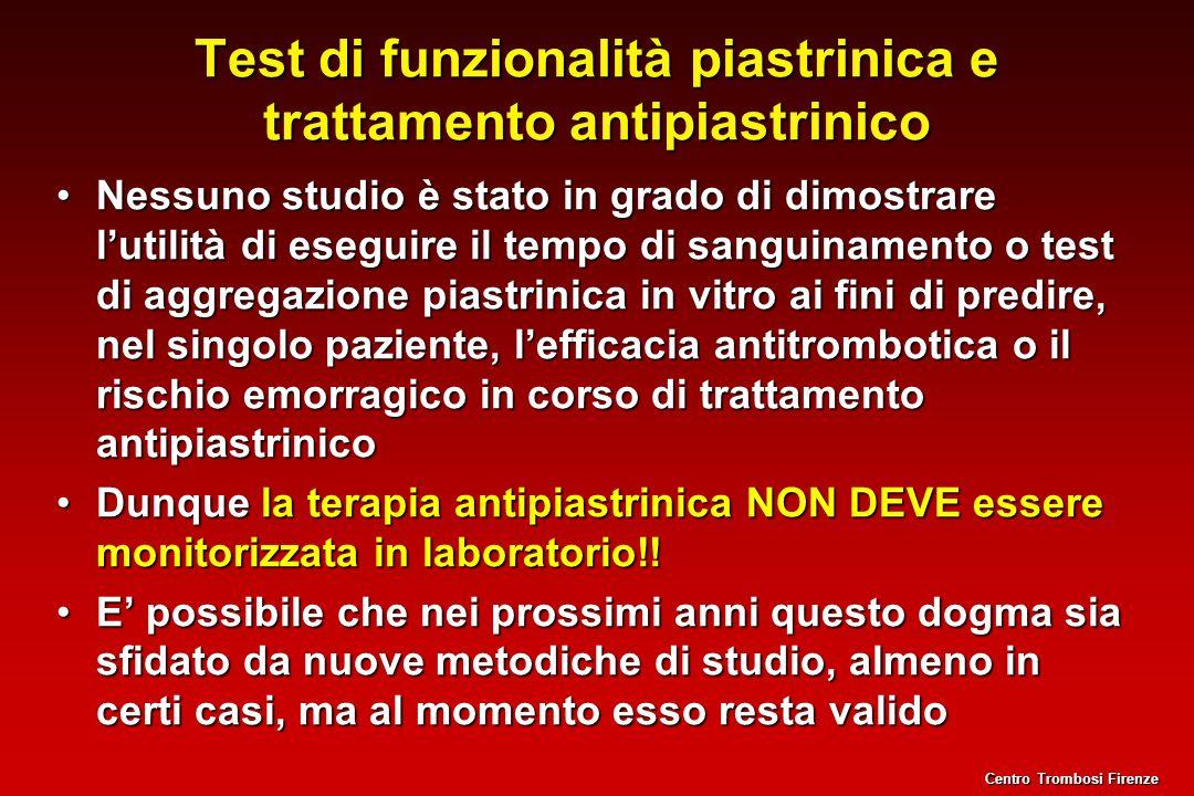 Test di funzionalità piastrinica e trattamento antipiastrinico Nessuno studio è stato in grado di dimostrare lutilità di eseguire il tempo di sanguina