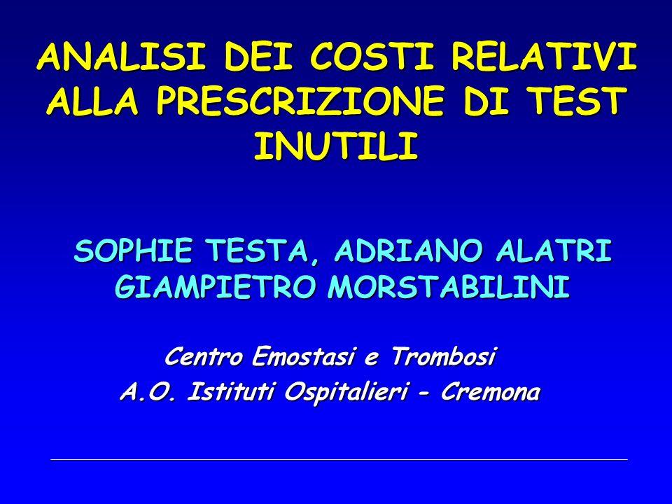 STIMA GENERALE DEI COSTI Costo () di 1 test di 1 test N ° Dif Cong (Dif Acq) Costo () per diagnosticare 1 difetto AT-III3,102842* 1 (25) 8.810,2 (352,40) Prot.C9,30482 1 (12) 4.482,6 (373,55) Prot.S8,61451 1 (58) 3.883,11 (66,95) PCA9,3047718246,45** LAC4,6545921101,63** Ab ACA 25,8252845302,95 Mut.FV199,34311115.635,88 Mut.