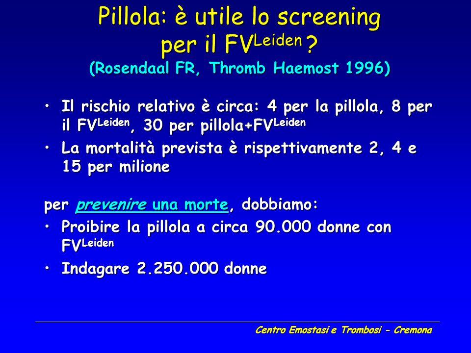Centro Emostasi e Trombosi - Cremona Pillola: è utile lo screening per il FV Leiden ? (Rosendaal FR, Thromb Haemost 1996) Il rischio relativo è circa: