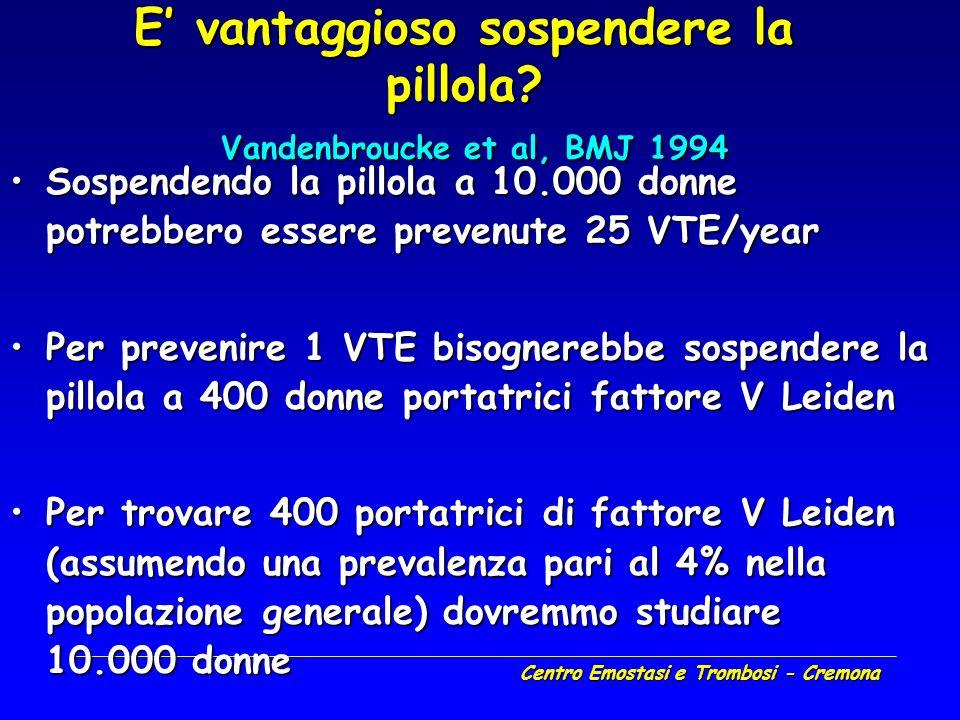 Centro Emostasi e Trombosi - Cremona E vantaggioso sospendere la pillola? Vandenbroucke et al, BMJ 1994 Sospendendo la pillola a 10.000 donne potrebbe