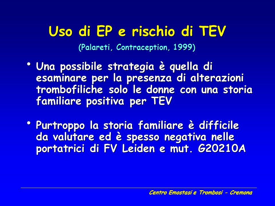 Centro Emostasi e Trombosi - Cremona Uso di EP e rischio di TEV Una possibile strategia è quella di esaminare per la presenza di alterazioni trombofil
