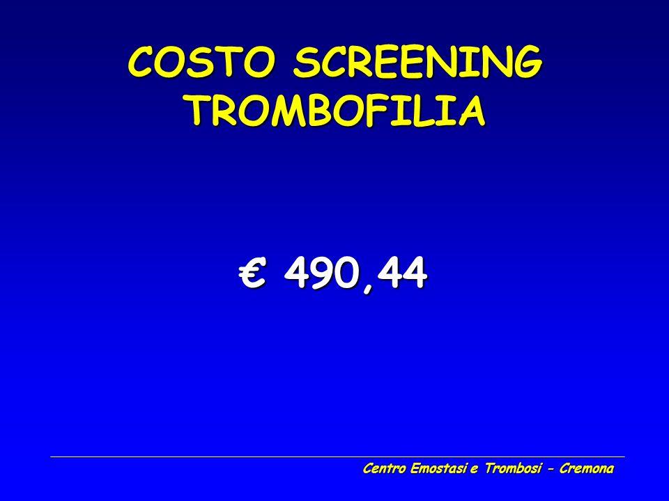 Centro Emostasi e Trombosi - Cremona COSTO SCREENING TROMBOFILIA 490,44 490,44