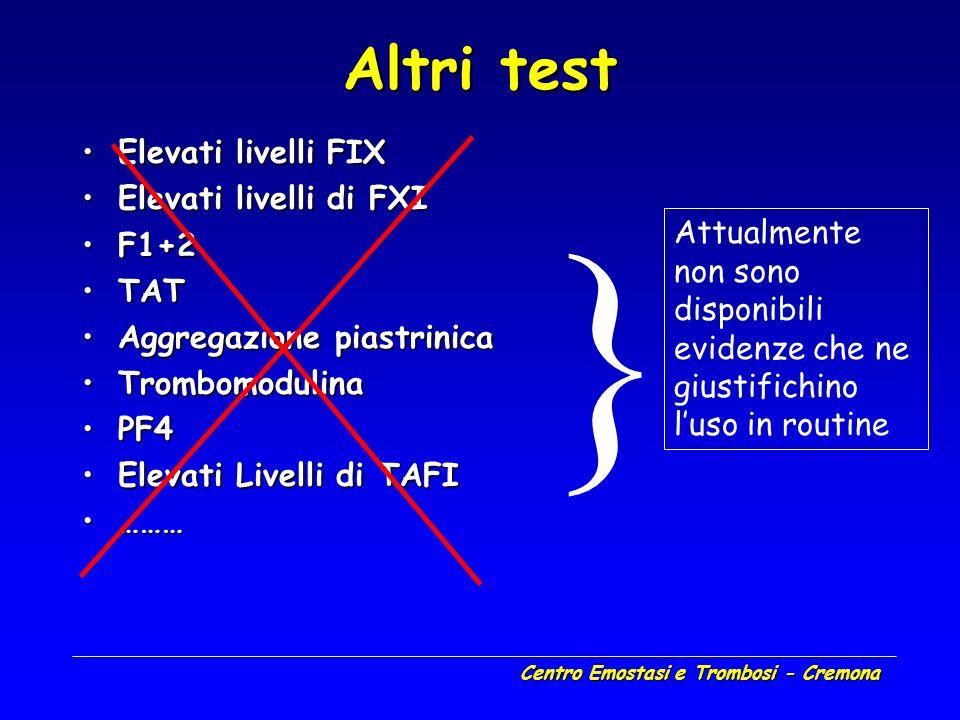 Centro Emostasi e Trombosi - Cremona Altri test Elevati livelli FIXElevati livelli FIX Elevati livelli di FXIElevati livelli di FXI F1+2F1+2 TATTAT Ag