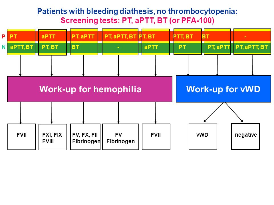P PT aPTT PT, aPTT PT, aPTT, BT PT, BT PTT, BT BT - N aPTT, BT PT, BT BT - aPTT PT PT, aPTT PT, aPTT, BT Work-up for hemophiliaWork-up for vWD FVII FX