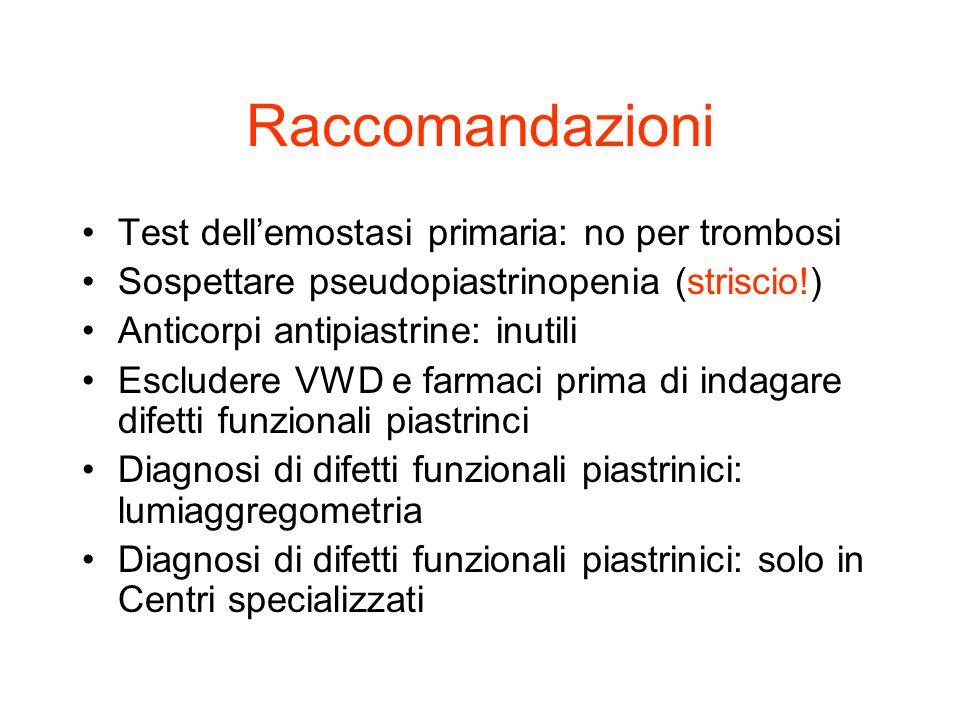 Raccomandazioni Test dellemostasi primaria: no per trombosi Sospettare pseudopiastrinopenia (striscio!) Anticorpi antipiastrine: inutili Escludere VWD