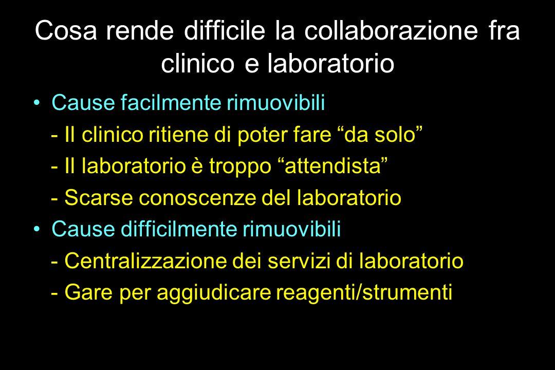 Cosa rende difficile la collaborazione fra clinico e laboratorio Cause facilmente rimuovibili - Il clinico ritiene di poter fare da solo - Il laborato