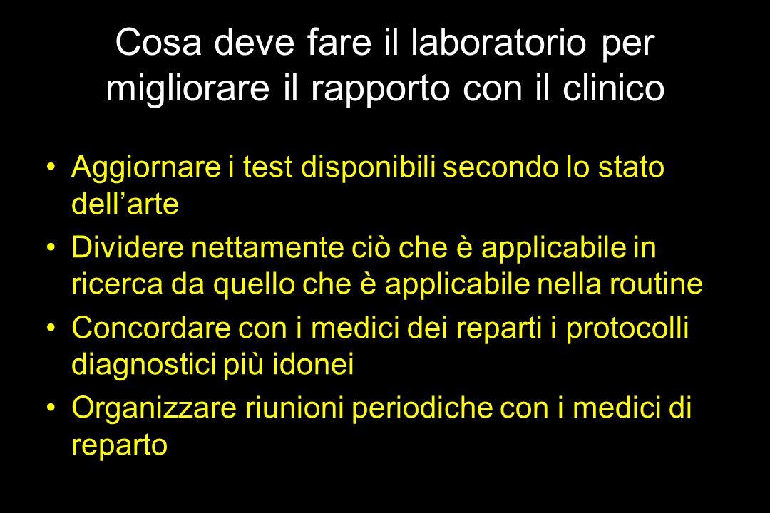 Cosa deve fare il laboratorio per migliorare il rapporto con il clinico Aggiornare i test disponibili secondo lo stato dellarte Dividere nettamente ci