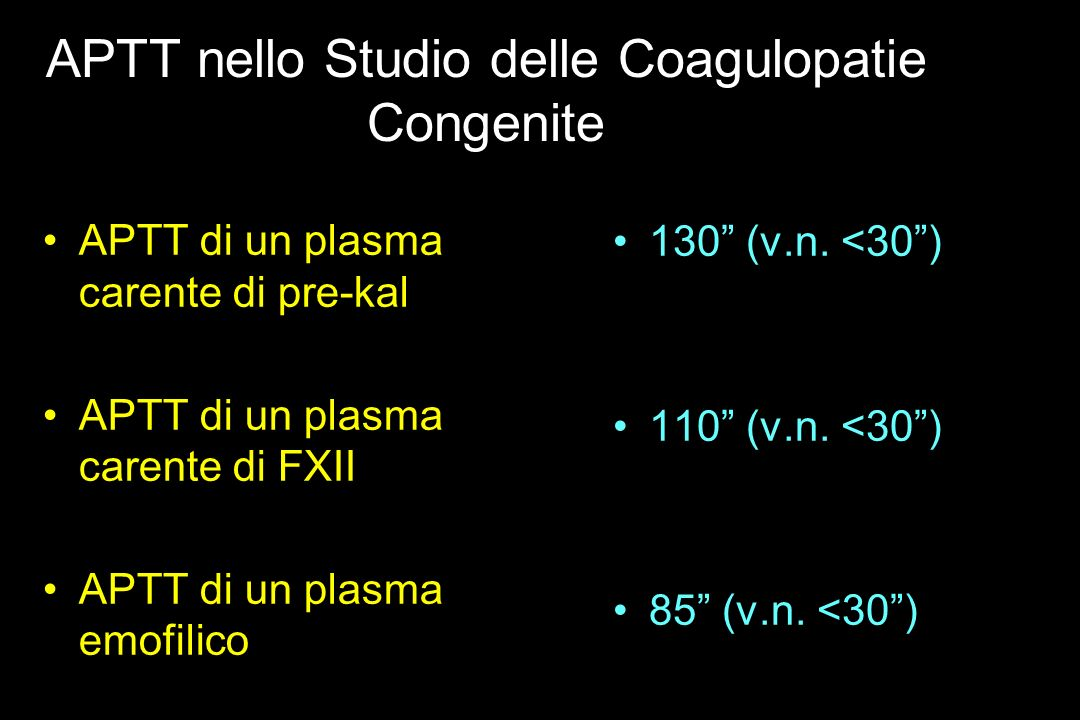 APTT nello Studio delle Coagulopatie Congenite APTT di un plasma carente di pre-kal APTT di un plasma carente di FXII APTT di un plasma emofilico 130