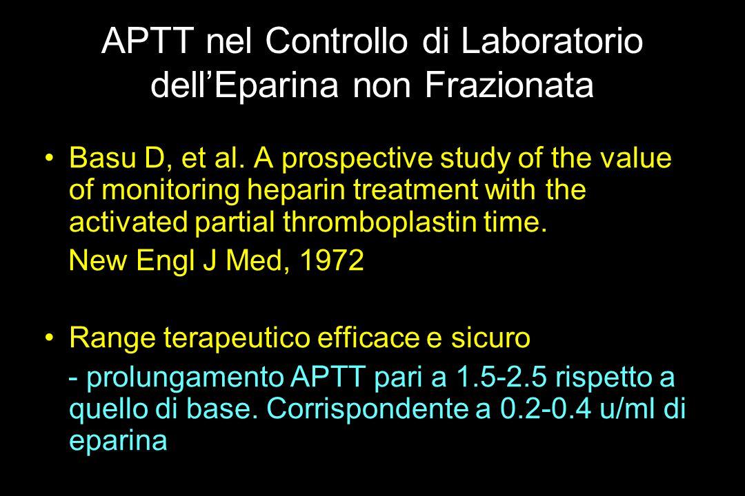 APTT nel Controllo di Laboratorio dellEparina non Frazionata Basu D, et al. A prospective study of the value of monitoring heparin treatment with the