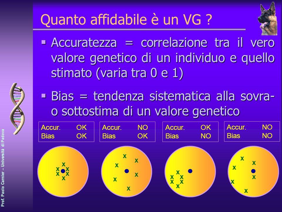 Prof. Paolo Carnier – Università di Padova Quanto affidabile è un VG ? Accuratezza = correlazione tra il vero valore genetico di un individuo e quello