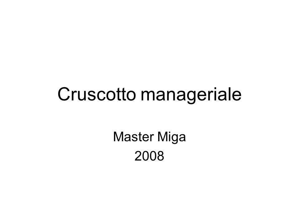 Cruscotto manageriale Master Miga 2008
