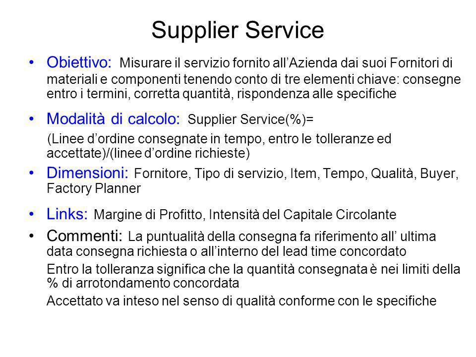 Supplier Service Obiettivo: Misurare il servizio fornito allAzienda dai suoi Fornitori di materiali e componenti tenendo conto di tre elementi chiave: