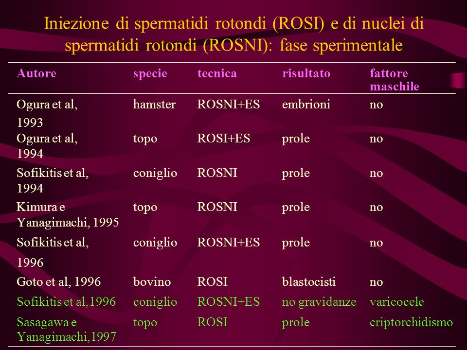 Iniezione di spermatidi rotondi (ROSI) e di nuclei di spermatidi rotondi (ROSNI): fase sperimentale Autorespecietecnicarisultatofattore maschile Ogura